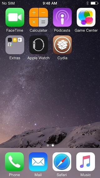 iOS 8.4 jailbreak homescreen