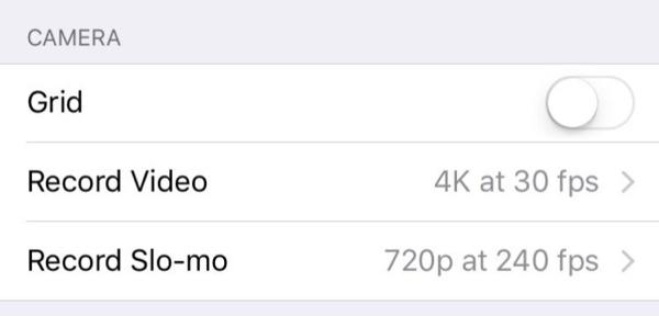 iPhone 4K settings