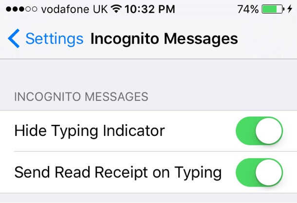 Incognito Messages tweak