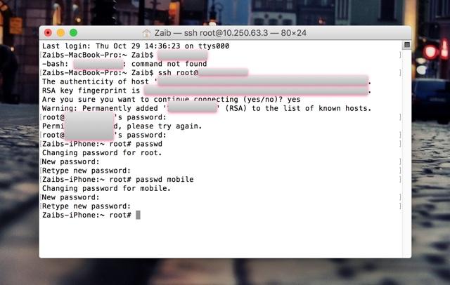 root password change iPhone