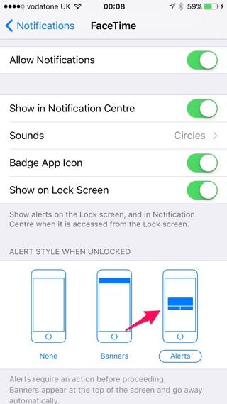 Notification style iOS