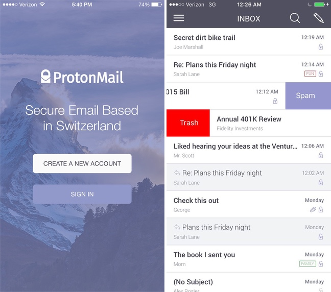 ProtonMail app iOS