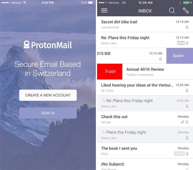 ProtonMail app iOS