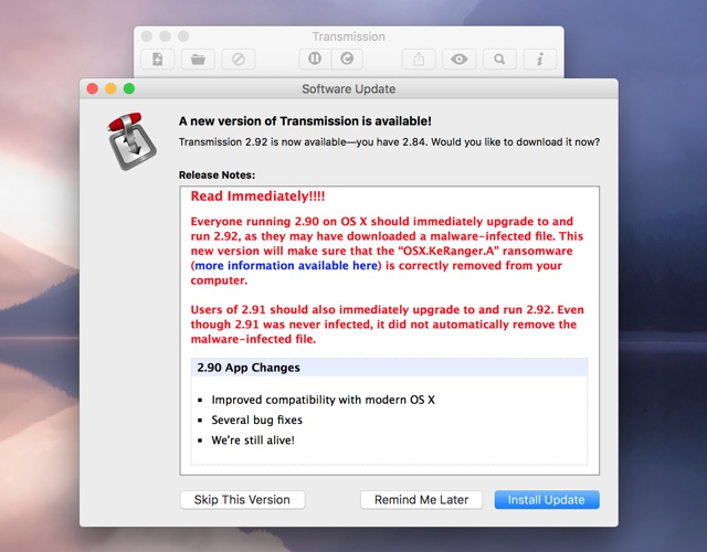 Transmission mac ransomware