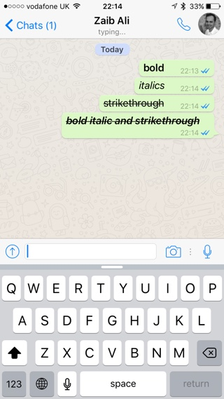 WhatsApp text styling 1