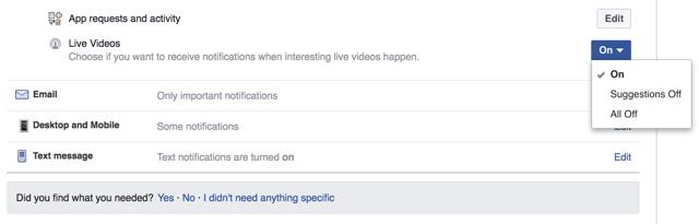 Facebook iOS notification settings