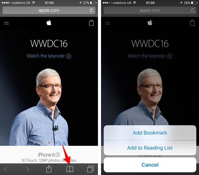 Add bookmark iOS 10