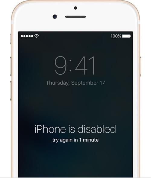 iPhone is disbaled error Apple