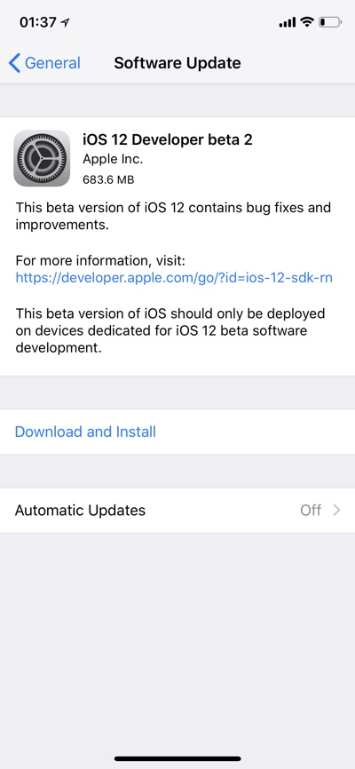 apple ios 12 beta download