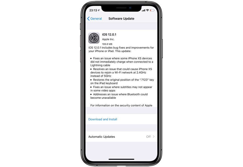 iOS 12.0.1 Released With Fix For iPhone XS Charging Bug