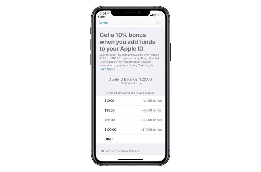Apple Is Again Offering 10% Bonus On Adding Funds To Apple