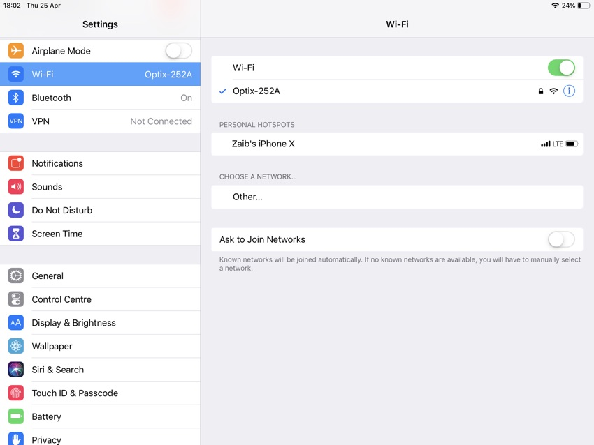 Personal Hotspot iPad