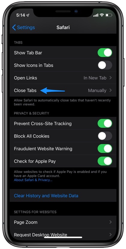 Automatically Close Tabs Safari iPhone