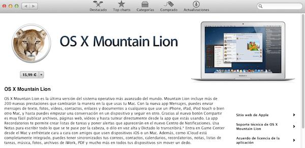 Mountain Lion disponible en la Mac App Store