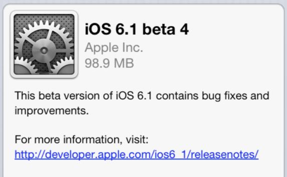 Disponible iOS 6.1 beta 4 para desarrolladores