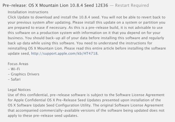 OS X 10.8.4 liberada por Apple