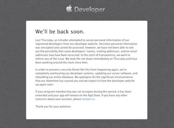 web de desarrolladores Apple