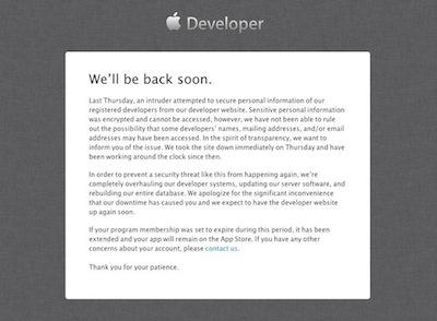 Web de desarrolladores de Apple