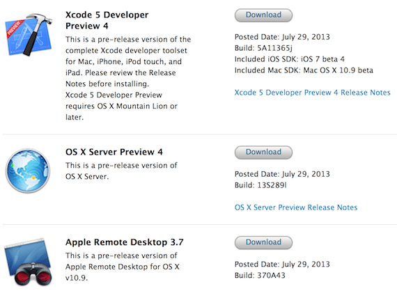 Nuevas betas de Xcode 5, Remote desktop y OS X Server Disponibles.