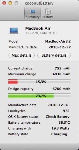Aplicación para la batería de MacOSX