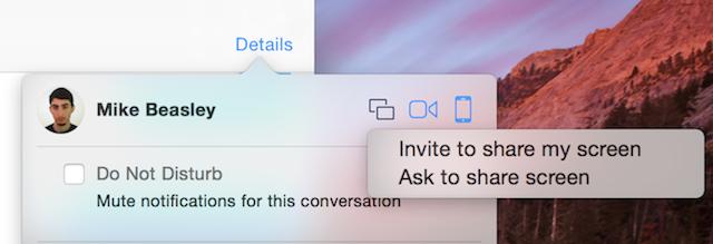 Ya es posible compartir pantalla con iMessage en Yosemite DP6