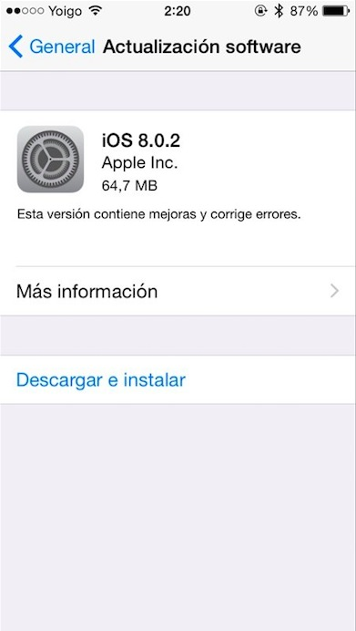 iOS 8.0.2 iPhone 5