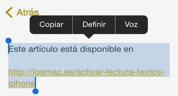 Cómo activar la lectura de textos en tu iPhone con iOS 8- iosmac