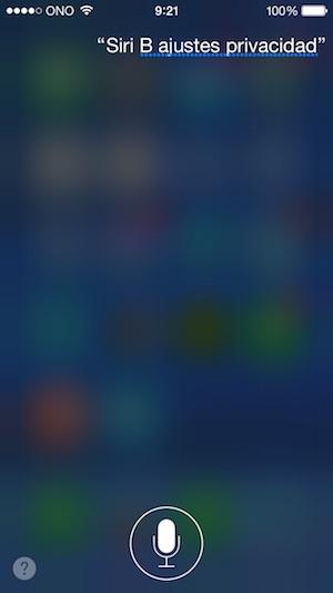 Siri ajustes - privacidad - ios 8