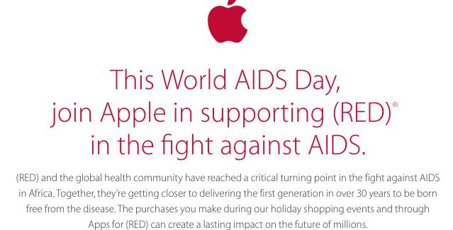 Apple donará parte de sus ventas del Black Friday y Cyber Monday a la lucha contra el SIDA