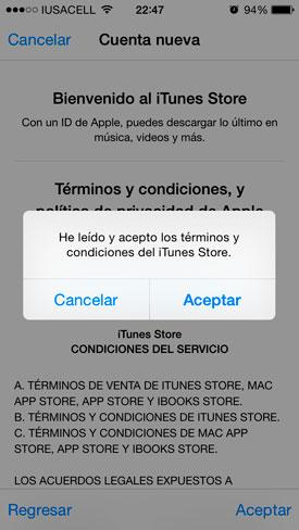 Aceptamos los términos y condiciones de Apple