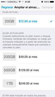 Planes de almacenamiento de iCloud Drive