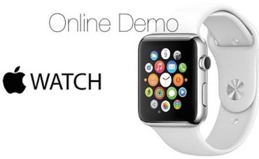 Empleados de las Apple Store configuran los diferentes estilos del Apple Watch para los compradores online
