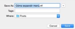 Menú compacto de MacOS