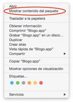 Menú contextual de app seleccionada