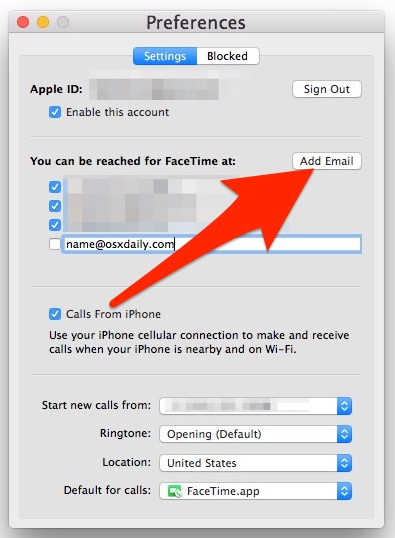 agregar email a facetime en mac