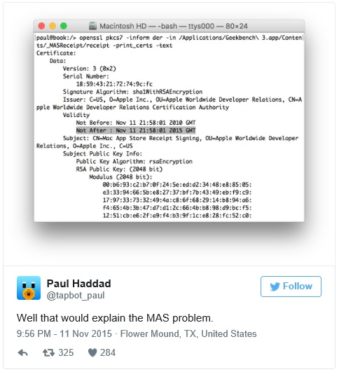 error de certificado en OS X