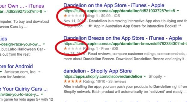 Google muestra valoraciones incorrectas de apps en la App Store