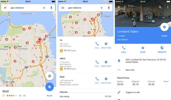 Google Maps muestra precios de gasolina
