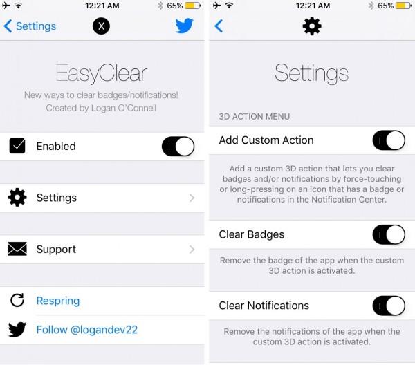 easyclear settings