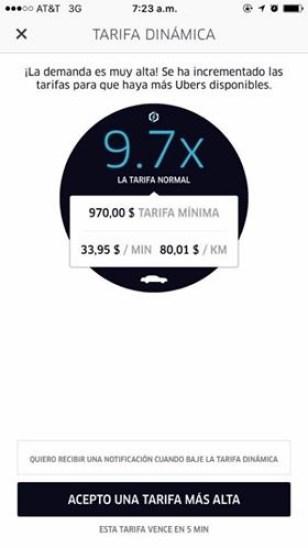 uber tarifa