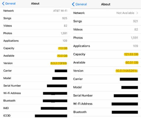 Captura de pantalla de iOS 9 y iOS 10