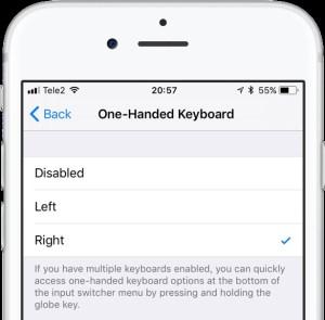 escribir a una sola mano en el iPhone