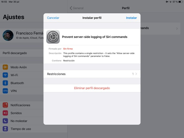 Perfil para desactivar el registro de datos de Siri en los servidores de Apple