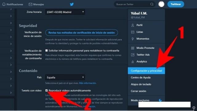 Configuración y privacidad Twitter