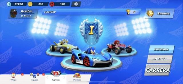 Menú de Sonic Racing