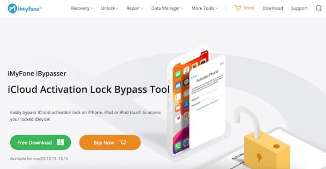 Página iMyFone iBypasser desbloqueo iCloud