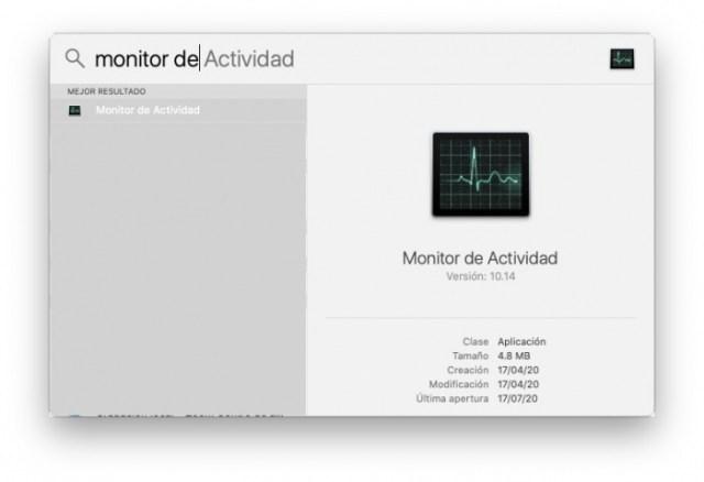 Buscar Monitor de Actividad en Spotlight