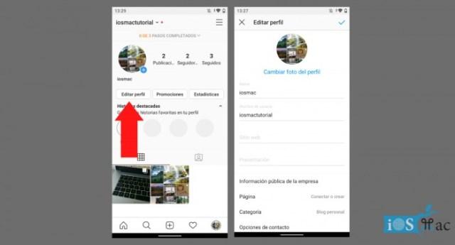 Edit profile on Instagram