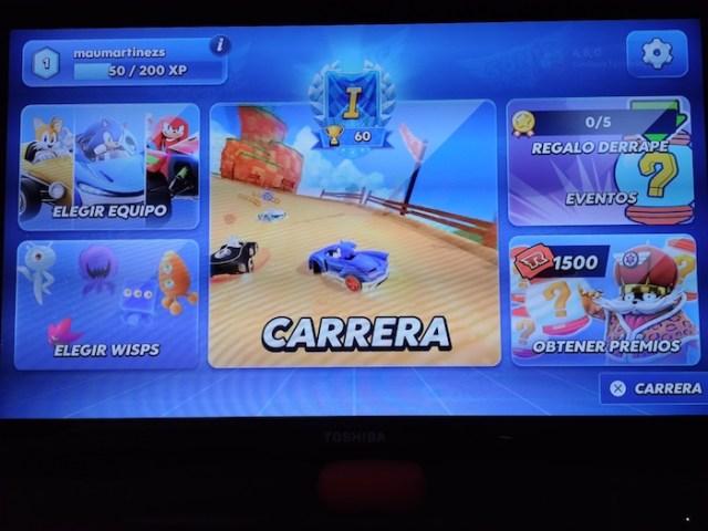 Menú principal Sonic Racing