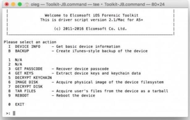 Elcomsoft iOS Forensic Toolkit desbloquear un iPhone